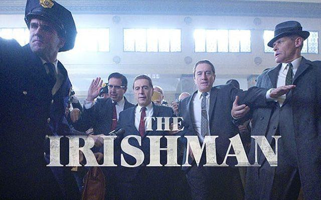Al Pacino and Robert DeNiro walking into Scorsese film movie the Irsihman