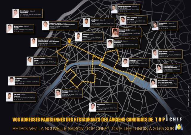 La carte des restaurants parisiens des anciens candidats de Top Chef