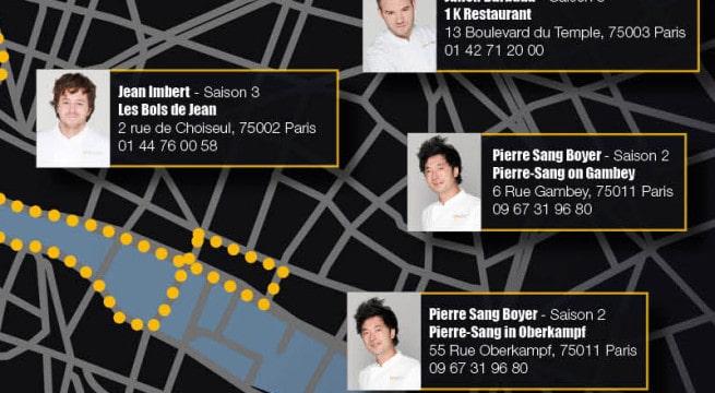 La carte M6 des restaurants des anciens candidats / Via CP M6
