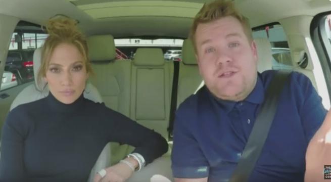 Jennifer Lopez et James Corden / Capture YouTube The Late Late Show
