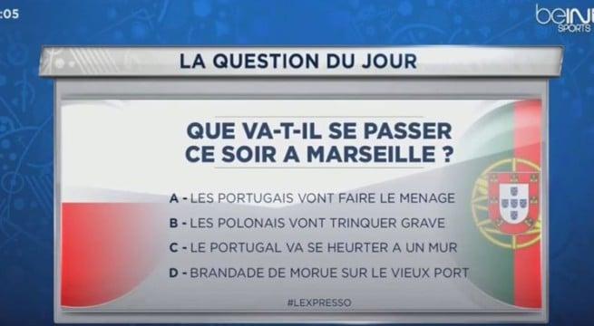 Une blague au sujet des Portugais qui passe mal sur BeIN Sports / Capture BeIN Sports