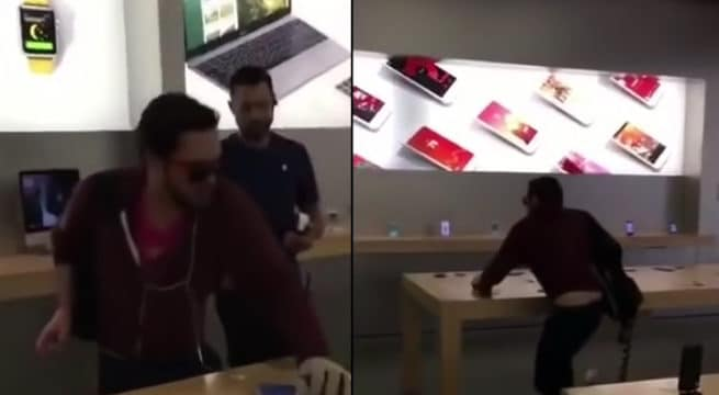 Un homme pète un plomb et saccage un Apple Store / Capture Youtube