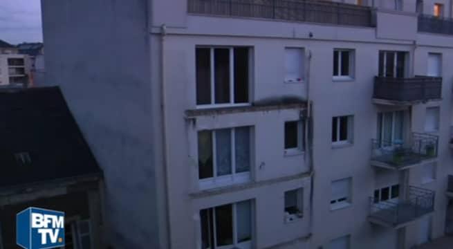 Un balcon s'effondre à Angers / Capture BFMTV